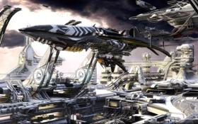 Обои корабль, будущее, небо, космо-порт