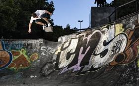 Обои скейтборд, статуя, фонарный столб, прыгать, скейтбординг, город, парк