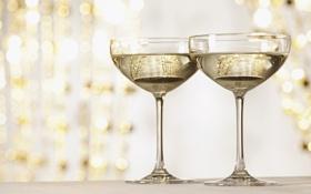 Обои золото, Новый Год, бокалы, Рождество, шампанское, Christmas, праздники