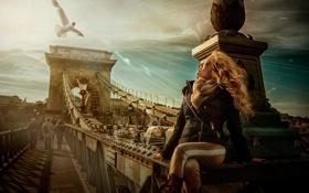 Картинка Clouds, Sky, Bridge, Wallpaper, Blonde, People, Seagull