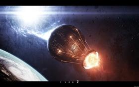 Обои энергия, звезды, конструкция, планета, астероиды, кольцо, плазма