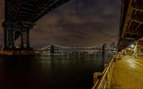 Обои ночь, город, огни, река, NYC, Manhattan & Brooklyn Bridges