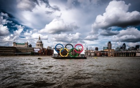 Обои англия, лондон, london, england, Thames River, Olympic Rings