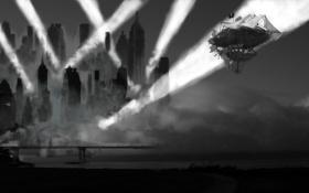 Обои прожекторы, небо, Дирижабль, ночь, город, небоскрёбы, туман