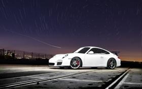 Обои белый, небо, звёзды, 911, Porsche, порш, white