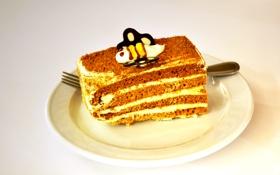 Обои тарелка, пчёлка, пирожное, тортик