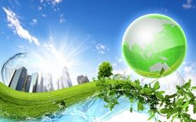 Обои листья, вода, креатив, здания, глобус, лоза