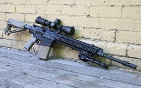 Картинка оружие, стена, оптика, штурмовая винтовка, сошка