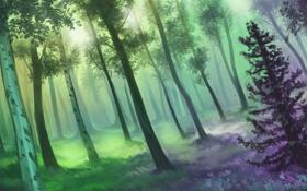 Обои зелень, лес, солнце, цветы, арт, нарисованный пейзаж