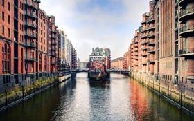 Обои город, улица, дома, Германия, канал, Гамбург