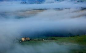 Обои трава, туман, дом, холмы, Италия, Тоскана