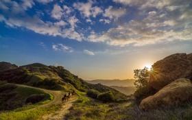 Обои небо, пейзаж, закат, природа, всадники, ковбои, California