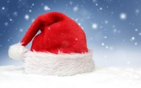 Обои снег, капот, Рождество, Новый год, new year, Дед Мороз, Christmas