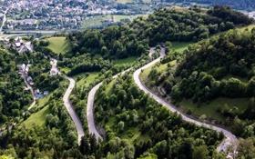 Обои дорога, деревья, горы, Франция, дома, серпантин, вид сверху