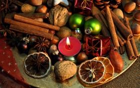 Обои Новый Год, печенье, Рождество, сладости, фрукты, орехи, корица