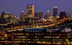 Обои США, ночь, Boston, дома, огни