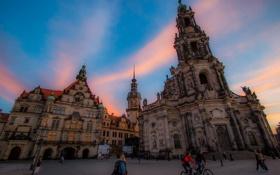 Обои люди, дома, Германия, Дрезден, площадь