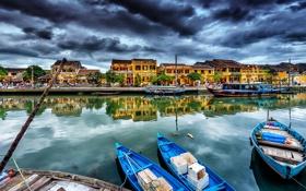 Картинка город, канал, дома, лодки
