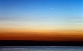 Картинка горизонт, небо, Венера, Меркурий, океан, Луна