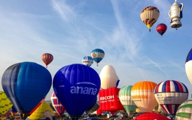 Картинка небо, пейзаж, воздушный шар, парад