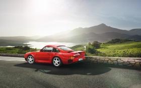 Картинка 1987, 959, Porsche, Порше, суперкар, Красный, вид сзади