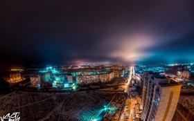 Обои снег, ночь, город, Night, Snow, city, Владимир Смит
