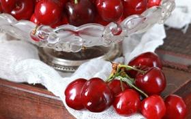 Картинка красные, вишни, ягоды, лето