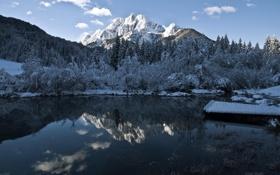 Обои зима, пейзаж, горы, озеро, вечер
