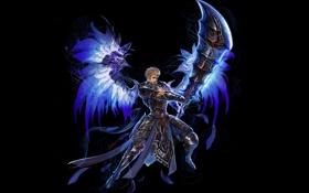 Обои взгляд, оружие, фон, магия, крылья, арт, парень