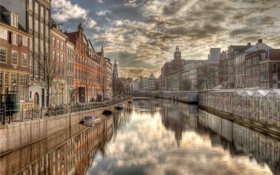 Обои city, город, отражение, река, дома, Амстердам, фотограф