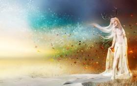 Картинка winter, платье, фантастика, белое, девушка, времена года, зима