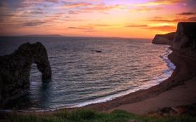 Картинка простор, закат, горизонт, небо, скалы, англия, вода