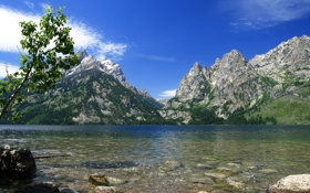 Картинка облака, озеро, камни, скалы, Небо