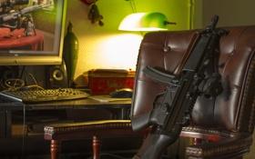 Обои оружие, комната, кресло, пистолет-пулемёт, MP5