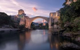 Картинка пейзаж, река, небо, Босния и Герцеговина, дома, Мостар, минарет