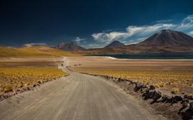 Картинка дорога, горы, озеро, пустыня
