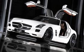 Картинка car, машина, отражение, tuning, reflection, INDEN Design Mercedes SLS AMG, 2400x1602