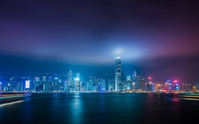 Обои city, light, ocean, night, hong kong