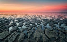 Картинка море, пейзаж, закат, природа, берег, вечер, Нидерланды
