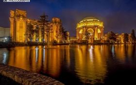 Картинка ночь, Мексика, Palace of Fine Arts, Дворец изящных искусств, Мехико
