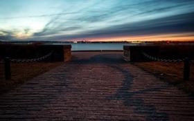 Картинка закат, залив, набережная