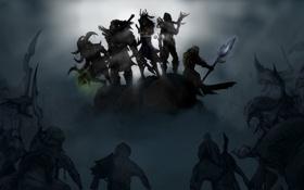 Обои варвар, колдун, герои, ночь, diablo 3, холм, шаман