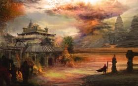 Картинка люди, фантастика, здание, арт, посох, монастырь