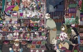 Картинка кот, собака, аниме, мальчик, девочка, лавка, колдунья