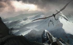 Картинка снег, полет, горы, тучи, скалы, драконы, арт