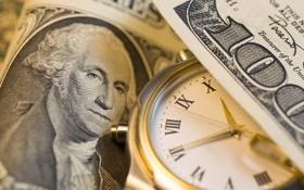 Обои green, Dollar, clock, Franklin