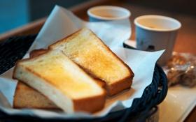 Обои тосты, кружки, чашки, хлеб