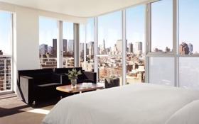 Обои дизайн, стиль, комната, интерьер, мегаполис, спальня