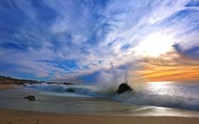 Обои песок, облака, берег, небо, прибой, волна, море