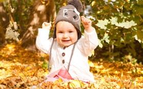 Обои осень, листья, дети, улыбка, ребенок, малыш, шапочка
